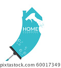 vector of squeegee scraping on house shape in blue color with spray bottle and bubble foam overlay on it. home cleaning service business banner template 60017349