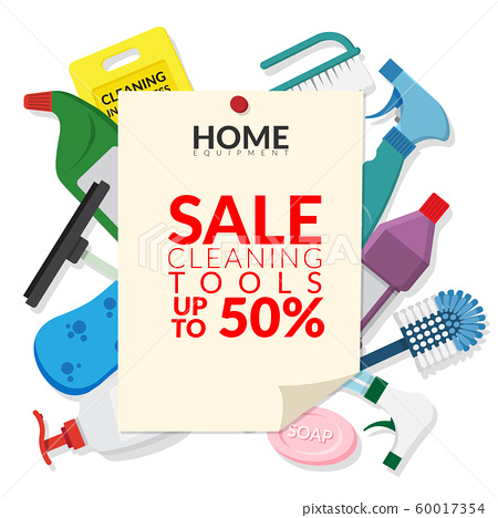 vector set of household supplies cleaning product , equipment tools of house cleaning isolated on white background with paper notice pin for advertisement of cleaning tools sales 60017354