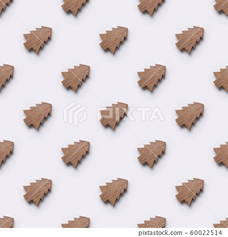 Seamless pattern of wooden Christmas tree toys. 60022514
