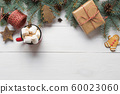 Christmas frame of fir branches, wooden toys 60023060