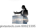 Speaker, coach or chairwoman during politician speech on white background 60023395