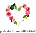 Pink rose flowers, buds and petals in a heart 60024448