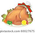 Roast chicken, roasted chicken, white background 60027675