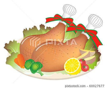 로스트 치킨 닭 다리 살 흰색 배경 60027677