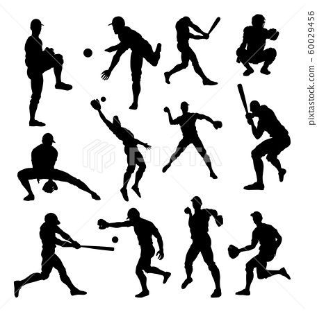 Baseball Player Silhouettes 60029456