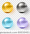 Set of multicolored transparent glass spheres with shadows 60030401