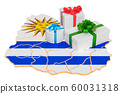 Gift boxes on the Uruguayan map 60031318