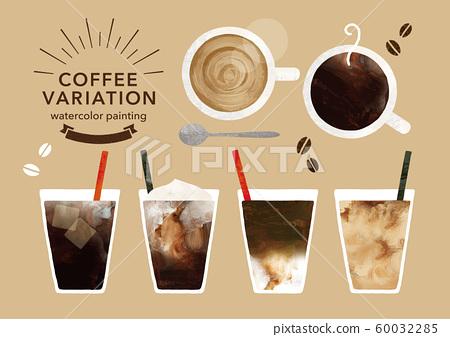 커피와 카페의 변형 수채화 60032285