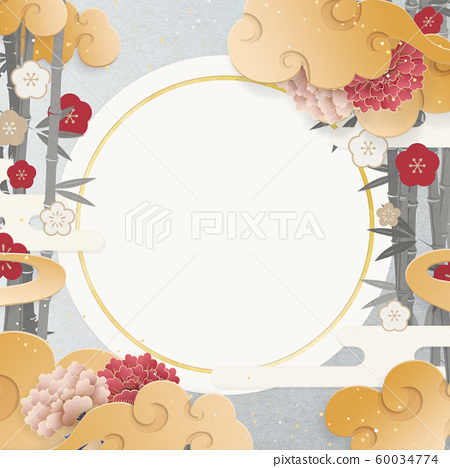 Japanese modern-Chinese clouds-Bamboo and plum-peony-Japanese paper texture 60034774