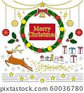 聖誕節手繪線圖花圈和其他插圖集 60036780