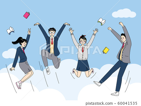 Group of cartoon teenager, high school students are enjoying themselves illustration 003 60041535