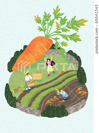Season of harvest of fresh food materials illustration. vegetables, fruits, fishes, meat and so on. 015 60041543