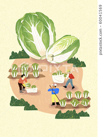 Season of harvest of fresh food materials illustration. vegetables, fruits, fishes, meat and so on. 014 60041569