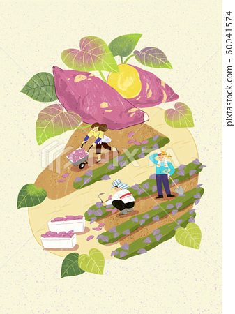 Season of harvest of fresh food materials illustration. vegetables, fruits, fishes, meat and so on. 011 60041574