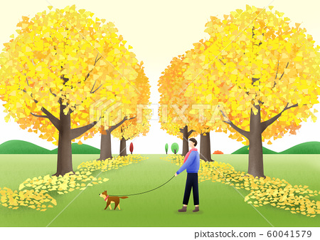 Colorful autumn landscape illustration 004 60041579