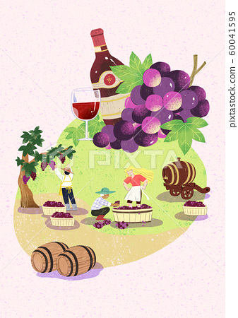 Season of harvest of fresh food materials illustration. vegetables, fruits, fishes, meat and so on. 005 60041595