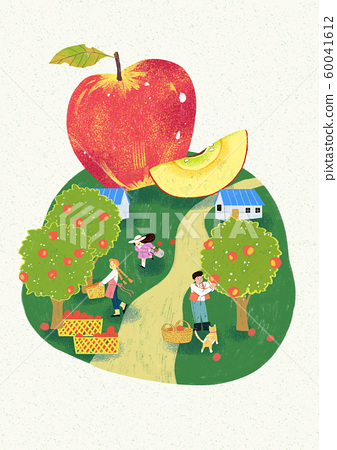 Season of harvest of fresh food materials illustration. vegetables, fruits, fishes, meat and so on. 006 60041612
