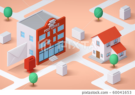 Real estate isometric concept with 3d city district and houses 015 60041653
