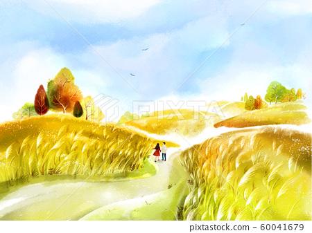 Painting of beautiful Aautumn landscape illustration 011 60041679