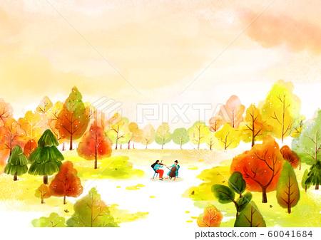 Painting of beautiful Aautumn landscape illustration 010 60041684