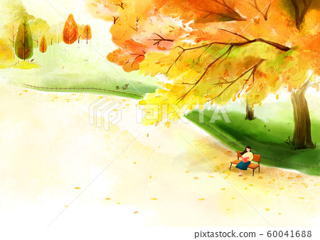 Painting of beautiful Aautumn landscape illustration 005 60041688