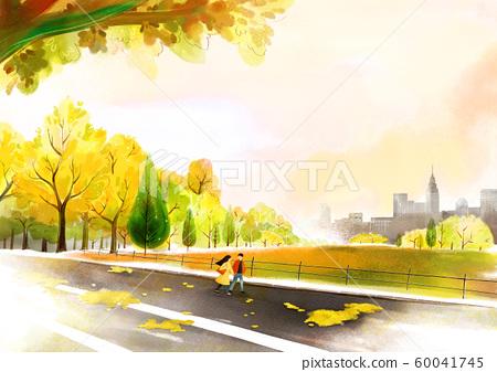 Painting of beautiful Aautumn landscape illustration 007 60041745