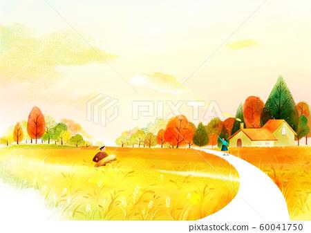 Painting of beautiful Aautumn landscape illustration 004 60041750