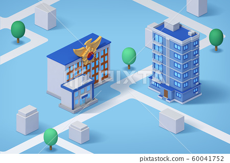 Real estate isometric concept with 3d city district and houses 006 60041752