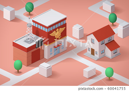 Real estate isometric concept with 3d city district and houses 010 60041755