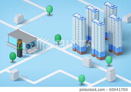 Real estate isometric concept with 3d city district and houses 003 60041760