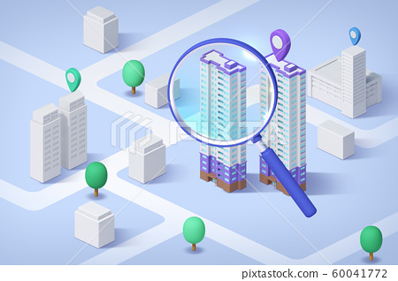Real estate isometric concept with 3d city district and houses 013 60041772