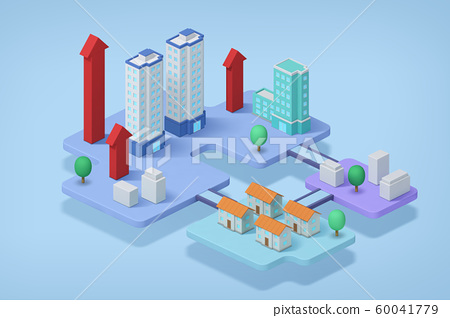 Real estate isometric concept with 3d city district and houses 005 60041779