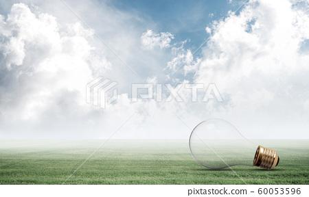 Light bulb on green meadow 60053596