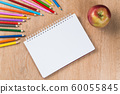 Idea of school still life with pencils and notebook on desk 60055845