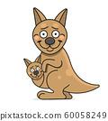 Cute Kangaroo Cartoon Suitable For Greeting Card, 60058249