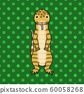 Striped reptile illustration (pet, dot pattern, green background) 60058268