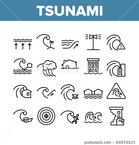 Tsunami Wave Collection Elements Icons Set Vector 60058825