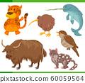 funny cartoon wild animal characters set 60059564