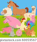 farm animals on meadow cartoon illustration 60059567