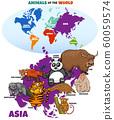 educational illustration of cartoon Asian animals 60059574