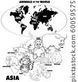 educational illustration of cartoon Asian animals 60059575