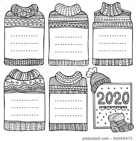 Hand-drawn vector winter frames in the shape of sweaters. Set of doodle black borders for bullet journal, notebook, diary, and invitations. Christmas collection isolated on white background. 60060475
