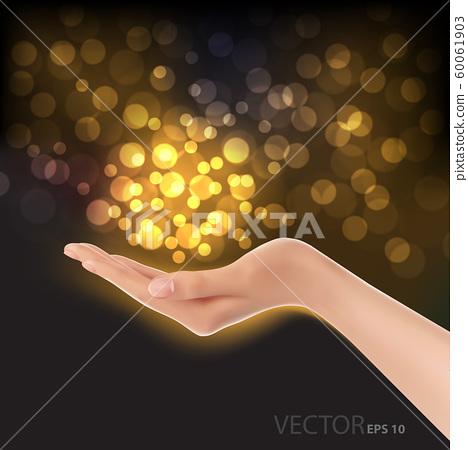 Hand gold bokeh light on black luxury background vector illustration. 60061903