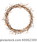 Watercolor tree branches wreath, vintajge 60062300
