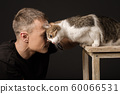 Bromance friendship man and cat touched their 60066531
