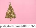 Christmas tree made of golden stars glitter 60066765
