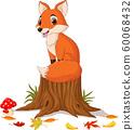 Cartoon happy fox sitting on tree stump 60068432