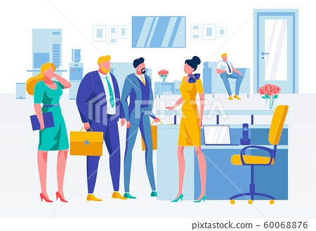Business Situation at Reception Flat Illustration 60068876