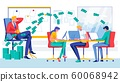 Boss Sit in Chair Dollar Money Fly in Office Room 60068942