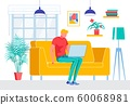 Freelancer Cartoon Man Sit on Couch With Notebook 60068981